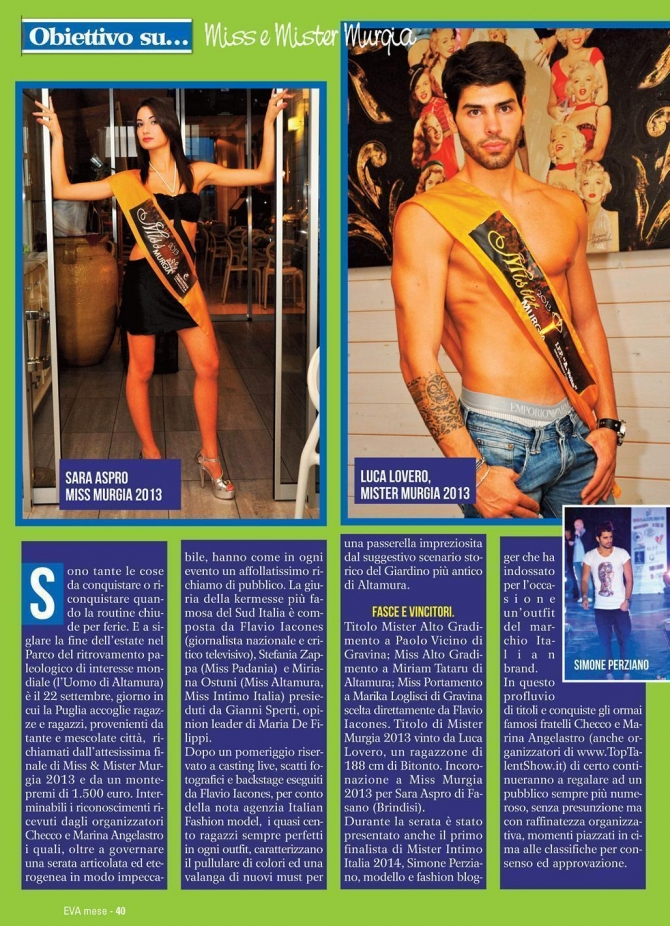 Miss & Mister Murgia 2013 su Eva Tremila Mese! - Miss Magazine & Beautiful Day